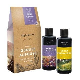 Geschenkset aus 2 Premium Bio-Saunaaufgüssen von AllgäuQuelle SAUNAAUFGUSSET (2 FLASCHEN)